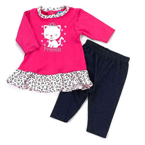 2-Piece Kitty Dress with Leggings 3-6m